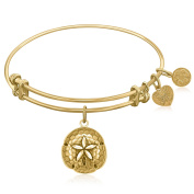 "Yellow Gold-Plated Brass Expandable Bangle with ""Sand Dollar"" Symbol"