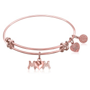 "Rose Gold-Plated Pink Brass Expandable Bangle with ""Mom"" Symbol"