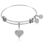 "Silver-Plated Brass Expandable Bangle with ""Heart with ""Cross"" Symbol"