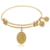 "Yellow Gold-Plated Brass Expandable Bangle with ""Initial R"" Symbol"