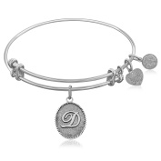 "Silver-Plated Brass Expandable Bangle with ""Initial D"" Symbol"
