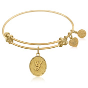 "Yellow Gold-Plated Brass Expandable Bangle with ""Initial Y"" Symbol"
