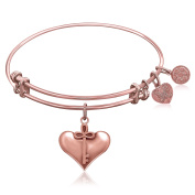 "Rose Gold-Plated Pink Brass Expandable Bangle with ""Cherish"" Symbol"