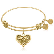 "Yellow Gold-Plated Brass Expandable Bangle with ""Angel Comfort Hope"" Symbol"