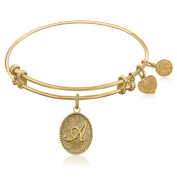"Yellow Gold-Plated Brass Expandable Bangle with ""Initial A"" Symbol"