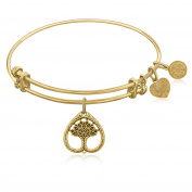 "Yellow Gold-Plated Brass Expandable Bangle with ""Tree Of Life Growth Maturity"" Symbol"