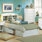 South Shore Summertime Twin Mates Bed with 3 Drawers, 100cm , White and Maple