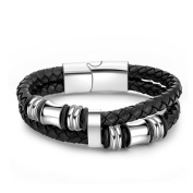 Pretty See Premium Braided Leather Bracelet Stylish Cuff Bracelet Durable Braided Wristband with Stainless Steel Buckle, Suitable for Men and Women, Black