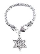 Star of David 12 Tribes of Israel Charm Bracelet Lobster Clasp Wicca Talisman Amulet Jewellery