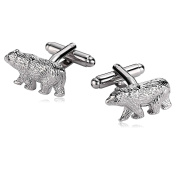 Bishilin Jewellery Cuff Links Stainless Steel Cuff Links for Mens Animal Polar Bear Silver Shirt Business