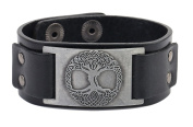 Vintage Bracelet Tree of Life Sigil Charm Snap Button Bangle Viking Runes Amulet Jewellery for Men and Women