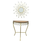 Three Hands Console Table and Mirror Set - Gold