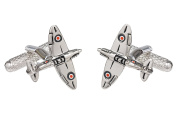 Spitfire War Plane Cufflinks in Black Cufflink Box