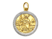 F.Hinds Mens Jewellery 9ct Two Colour Gold St Christopher Medallion - 18mm