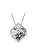 Designer Inspired Simulated Diamond Love Pendant Necklace Sterling Silver 925