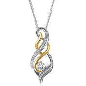 Caperci Women's 925 Sterling Silver Cubic Zirconia Flame Pendant Necklace with Elegant Gift Box, Gift for MUM