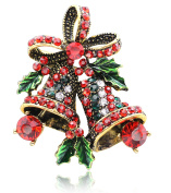 KristLand - Elegant Colourful Rhinestones Christmas Bells Tree Santa Enamel Craft Brooch Pin Corsage for Xmas