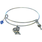 Charming Accents Adjustable Charm Bangle, 19cm , Spinning Wheel
