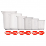 Measuring Cup Plastic Beaker Set Transparent Labs Graduated Beakers 50ml 100ml 150ml 250ml 500ml 1000ml Transparent 500ML