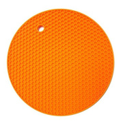 Vikenner Round Silicone Table Mat Insulation Placemat Heat Resistant Pan Pot Holder Cushion Pad Non-slip Table Cup Mat - Orange