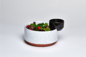 Modern Black And White Solar Lunar Eclipse Hand Painted Ceramic Salad Serving Dressing Bowls
