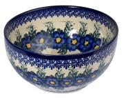 Traditional Polish Pottery, Handcrafted Ceramic Salad Bowl 2,8l (2910ml), Boleslawiec Style Pattern, M.705.PANSY