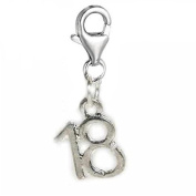 Clip on Number 18 Dangle Charm Pendant for European Clip on Charm Jewellery w/ Lobster Clasp