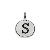TierraCast Alphabet Charm, Uppercase Letter 'S' 16.5x11.5mm, 1 Piece, Antiqued Silver Plated