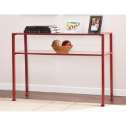 Southern Enterprises Glass Top Metal Console Table in Red