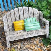 Evergreen Enterprises, Inc Beachside Bench with Pillows for Miniature Garden, Fairy Garden