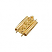 Beadslide Cross Hatch Gold Plated Slider Clasp 10x18mm