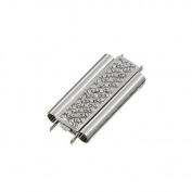 Cross Hatch Beadslide Rhodium Plated Slider Clasp 24mm