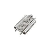 Beadslide Slider Clasp Cross Hatch Rhodium Plated 18mm