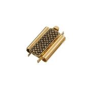 Beadslide Cross Hatch Slider Clasp Antique Gold 18mm