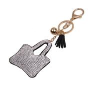 Da.Wa Fashion Leather Tassels Candy-coloured Bag Design Diamond Keyring Keychain