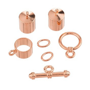 8mm Barrel Shaped Kumihimo Findings Set - Copper Plate