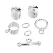 8mm Barrel Kumihimo Accessory Findings Set Silver Plate