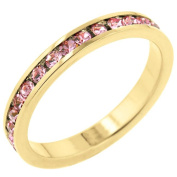 Kate Bissett R01147G-C12-06 18k Gold Plated Stacker Ring with Round Cut Clear CZ in a Channel Setting in Goldtone- Size 6