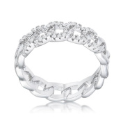 Jgoodin R08559R-C01-10 Interlocking Rhodium Chain Design Ring with Cubic Zirconia - Clear, Size 10