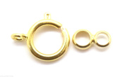 Bright Gold Colour 12mm Spring Ring Clasps with attachment rings x 5