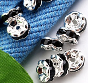 Skyllc® 50 X Silver Tone Black Rhinestone Caps Spacers Beads CHIC