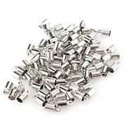 Skyllc® 100 X Fashion metal buckle Unique Silver Tone End Beads Caps 8x4mm