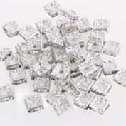 Skyllc® 50pcs Silver Square Rhinestones Spacer Rondelle Beads CHIC