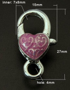 10 Silver Bezel with Pink As Heart 15 x 27 mm DIY from Craft Express Snaphook