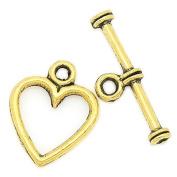 21430 / 10 Heart-Shaped Toggle Clasps 14 x 12 mm / 19 x 6 mm - antikgold