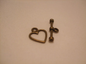 Tibetan Style Toggle Clasps - Heart - Pack of 10 Sets - Nickel Free