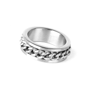 Nalmatoionme Fashion Delicately Men's Stainless Steel Curb Chain Band Ring (UK Size T 1/2) Silver