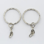 Création Perles Keyrings 10 X Silver-Plated Metal 25mm Keyrings with Chain