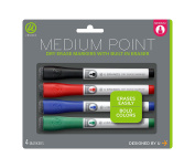 U Brands Low Odour Dry Erase Markers With Erasers, Medium Point, Assorted Classic Colours, 4-Count