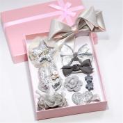Lalang 10pcs Girl's Ribbon Hair Clips Set Cute Bowknot Flower Princess Shiny Hair Barrettes, Grey
